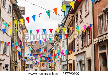 Old city prepared for carnival - stock photo