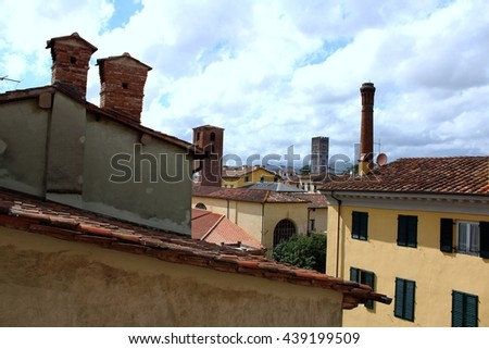 Old city roofs architectural details, Lucca Tuscany