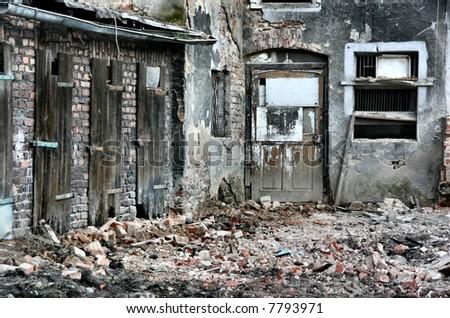Old city ruin. Slums area in Ukraine. - stock photo