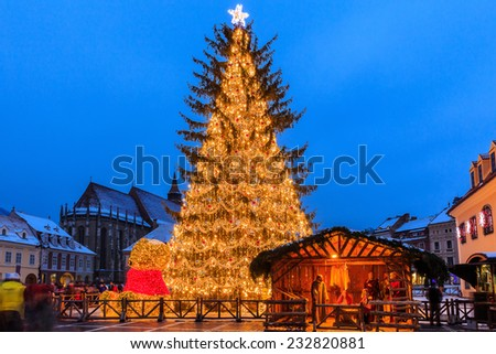 Old city square of Brasov during Christmas, Romania - stock photo