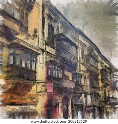 old city street - stock photo