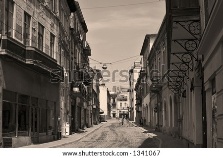Old city street in Bucharest - Romania