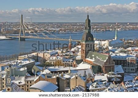 Old city view (Riga, Latvia, Europe) - stock photo
