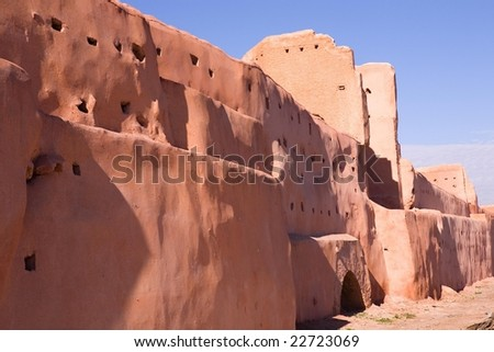 Old city wall in Marrakech - stock photo