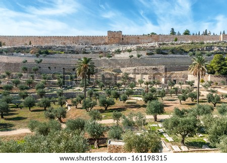 Old city walls of Jerusalem from Mount olives, Israel. - stock photo