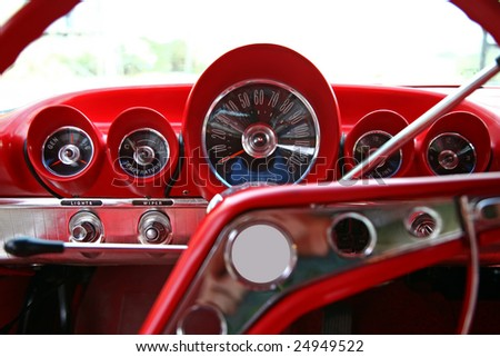 old classic car dashboard - stock photo