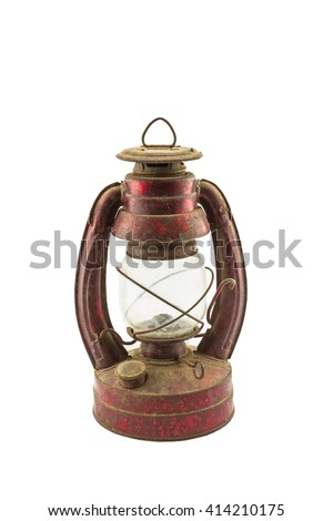 Old classic dusty oil lamp isolated on white background.Saved with clipping path. - stock photo