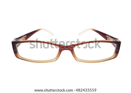 Old classic retro eyeglasses, isolated on white background