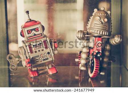old classic robot toys - stock photo