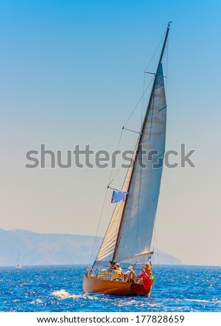Old classic wooden racing sailing boat, during a Classic Boats Regatta in Spetses island in Greece