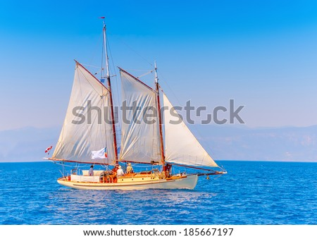 old classic wooden sailing boat during stock photo royalty free