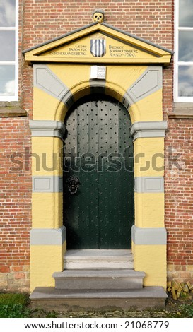 Old classicist church door somewhere in Holland