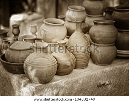old clay pots - stock photo