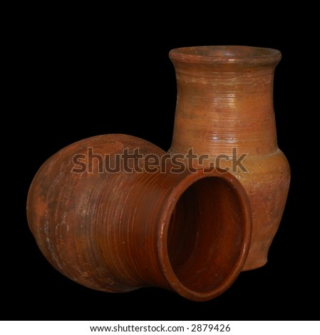 old clay pottery - stock photo