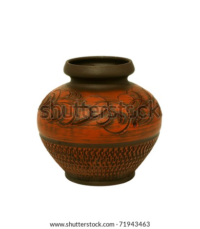 Old clay vintage vase isolated on white - stock photo