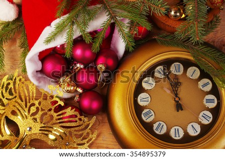 Old clock and christmas decorations