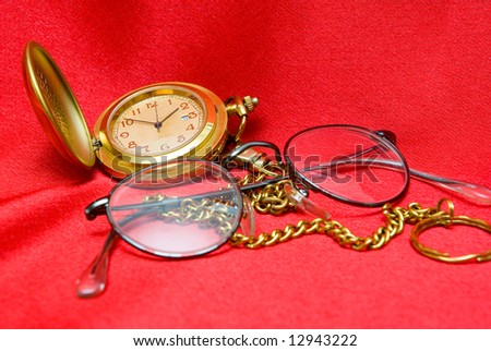 old clock and glasses