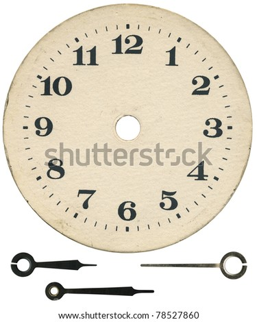 Old clock face and arrows, isolated with clipping path - stock photo