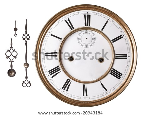 Old clock face and hands isolated on white. - stock photo
