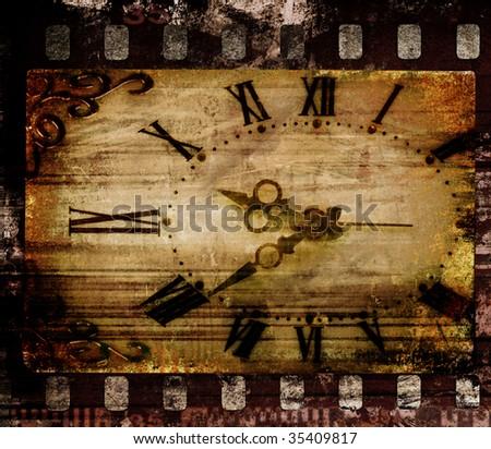 Old clock face. Grunge film frame, vintage background - stock photo