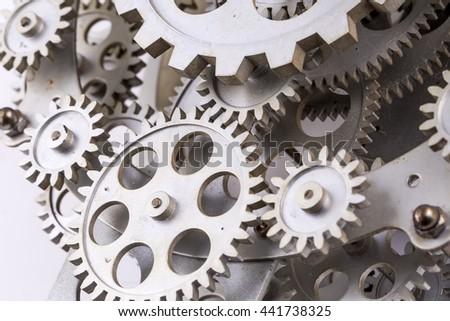 Old Clock Gears - stock photo