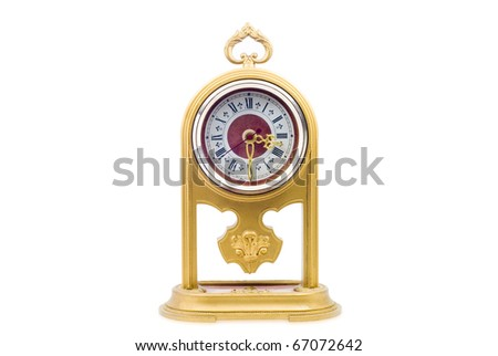 Old clock. Isolated on white - stock photo