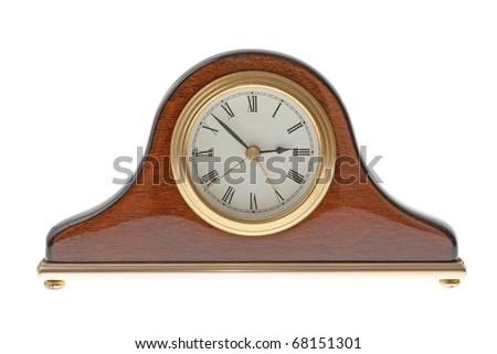 Old clock isolated on white background. - stock photo