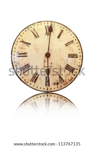 Old Clock Isolated on white background, Vintage clock - stock photo