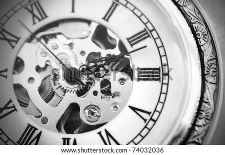 Old clock machine - stock photo