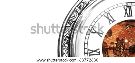 Old clock machine on white background - stock photo