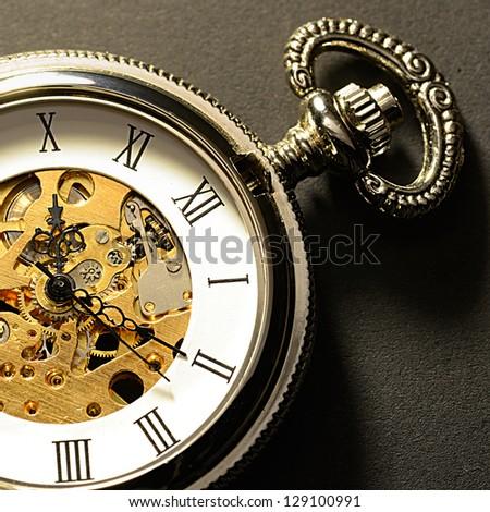 Old clock macro - stock photo