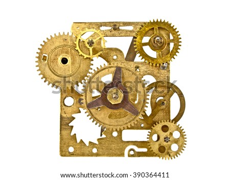 Old clock mechanism with gears isolated on white background, close up - stock photo