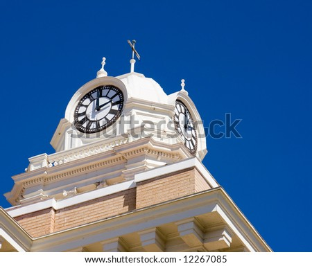 Old clock on top of a historic court house