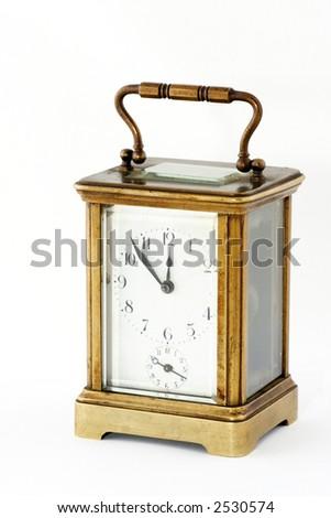 old clock on white background - stock photo