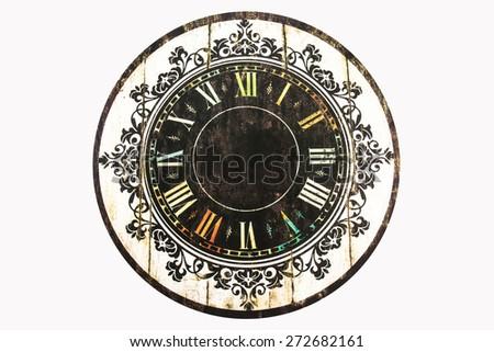 Old Clock on white background,Vintage clock - stock photo