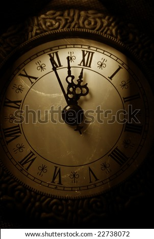 old clock showing time about twelve - stock photo