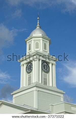 Old clock tower in Natchez Mississippi - stock photo