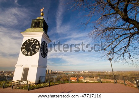 Old clock tower on the Petrovaradin fortress