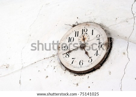 old clock with cobweb - stock photo