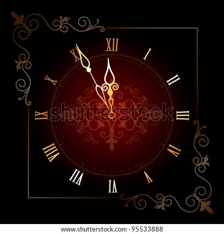 Old clock with roman numbers in editable vector format