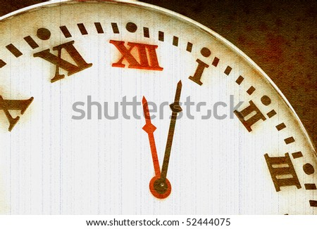 Old clock with roman numerals in 3D