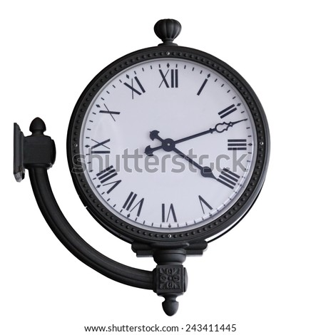 old clock with wall mounting isolated on white