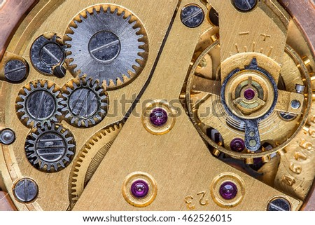 Old clockwork macro shot, top view