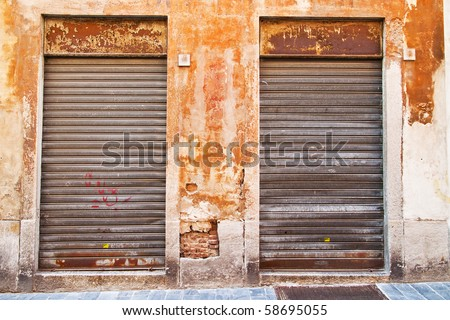 Old closed shop window