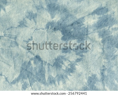 Old cloth. Blue and white color jeans texture background. Boho, bohemian, retro, grunge, vintage style. Vintage concept or conceptual old retro aged fabric - stock photo