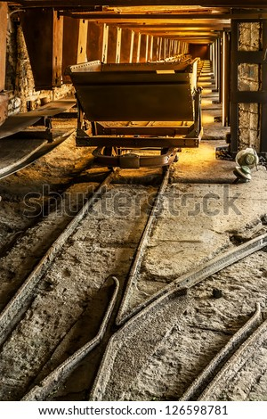 Old coal mine wagon - stock photo