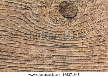 Old, coarse textured, knotted, weathered, cracked, roughly treated, plank surface. - stock photo