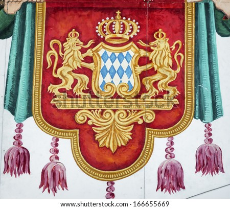 old coat of arms of bavaria - germany - stock photo