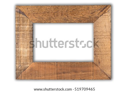 old coconut picture frame isolate on white