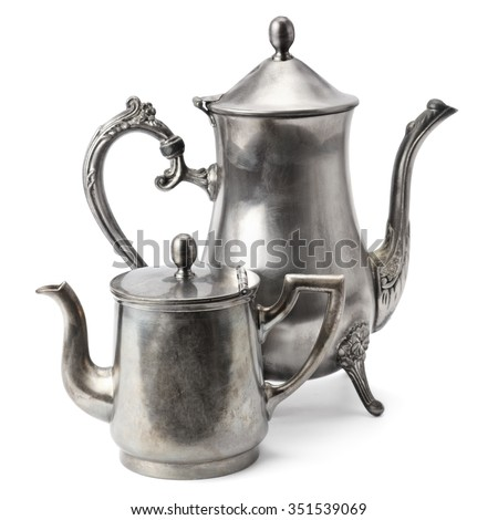 old coffee pot isolated on white background